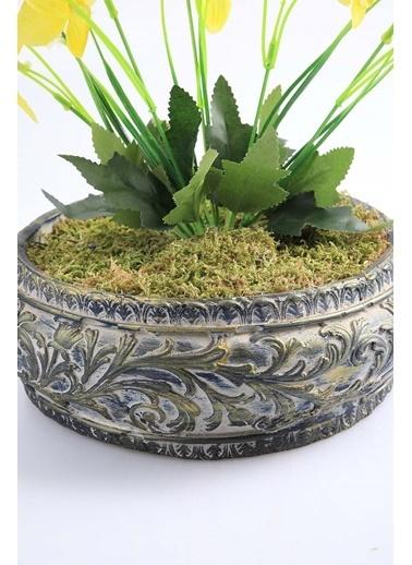 Kibrithane Çiçek Yapay Çiçek Beton Saksı Mini Sarı Kumaş Orkide Kc00200803 Renkli
